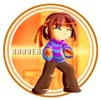 Frisk in Bravery's Armor by ArmoredFish