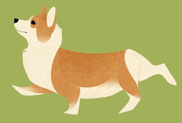 Geometric dogs - Welsh Corgi Pembroke by Kelgrid
