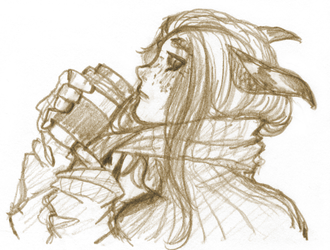 Sketch - ISFJ with Warm Beverage by Lear-is-not-amused