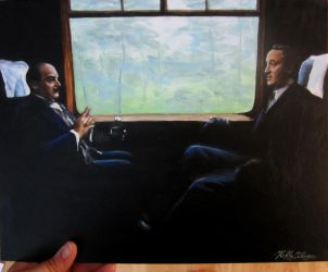 Poirot and Hastings in a train by auggie101