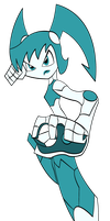 Jenny XJ-9 attacking by Keytee-chan