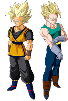 Goken and Nach (Super Saiyans) V1 by MAD-54