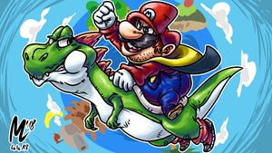 Mario and Yoshi |Artwork by blue-hugo