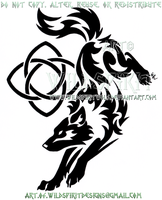 Wolf And Healing Knot Tribal Design by WildSpiritWolf