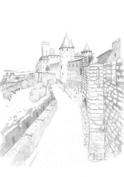 View of Carcassonne Fortification by Ceridwenn