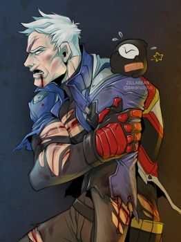 Commission: Bloodied Soldier76 by zillabean