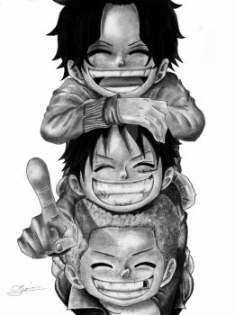 Ace, Sabo, and Luffy (ASL Pirates) - One Piece by Eternal-Axis