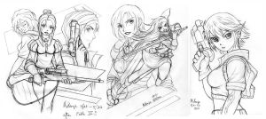 Weapons and women sketches by RedShoulder