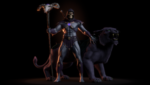 MOTU - Skeletor III with Panthor -1 by paulrich