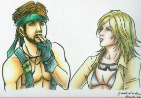 MGS3 - Big Boss and EVA by bleu-ice2002