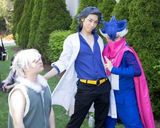 Prof Sycamore with Espurr and Greninja by M-Hydra