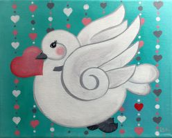 Spring love dove by LeahGarcia