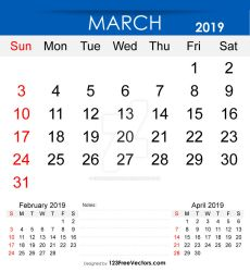 Printable March 2019 Calendar Free Vector by 123freevectors