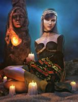 Lights in the Dark, Gypsy Woman Fantasy Iray Art by shibashake