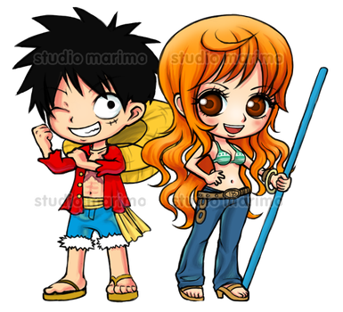 Luffy and Nami - ONE PIECE by studiomarimo