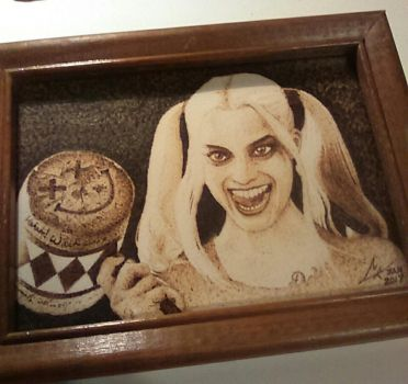 Harley, Suicide Squad - paper pyrography by ckatt01