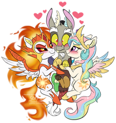 Daybreaker and Celestia x Discord by StePandy