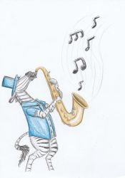 Zee Plays His Sax by Louisetheanimator
