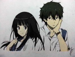 Oreki Houtaro x Chitanda Eru (Colored) by Izham-ZK9