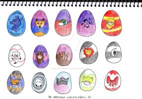 Easter Egg Batch 1 by KrestenaWolfShadow