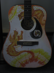 guitar painting 2 beasts by not-fun