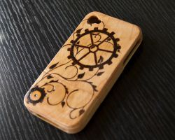 Steampunk Gears iPhone 4/s Wood Case by CrystalKittyCat