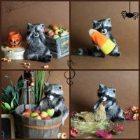 Miniature Dollhouse Raccoon by Teensyweensybaby