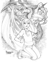 World of Fiction Pin-up B/W by RyanKinnaird