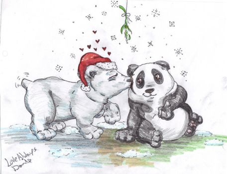 Merry Christmas Panda Bear by InkyDinkyWho