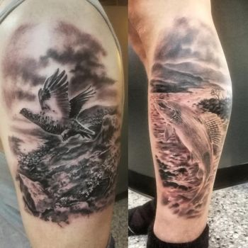Couple of Lapland nature theme tattoos by tuomaskoivurinne