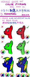Useless guide on color picking for pony OC ( #1 ) by FlameRat-YehLon