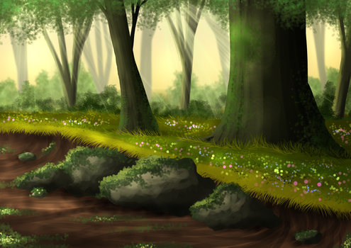 Free Summer Forest Background by SweetLittleVampire