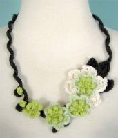crochet orchids necklace by meekssandygirl