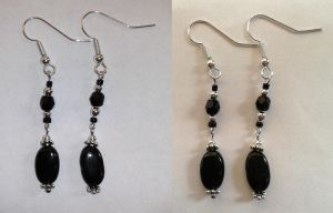 black pearls and half precious stone earrings by syn-O-nyms