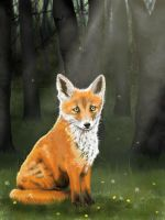Little fox and dandelions by LeeAnneKortus