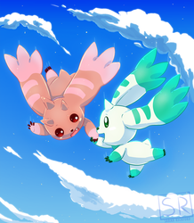 Lopmon and Terriermon in the sky by SarahRichford