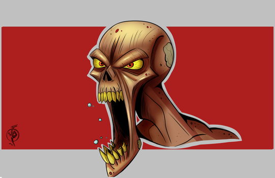 Zombie Head by BlackAriock