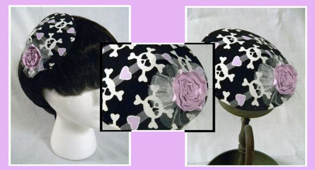 Black Cocktail Hat with Skulls by Mellowed-Mushroom