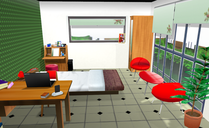 [stage flood] MMD Cute room by amiamy111