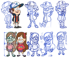 Dipper and Mabel practice sketches by Ice-Fire-Bolt