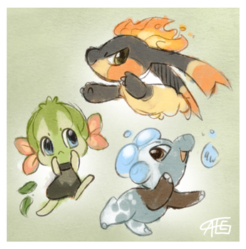Fakemon starters by griffsnuff