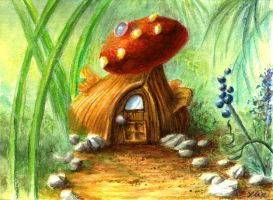 Fairy Hut Greeting Card by mynti