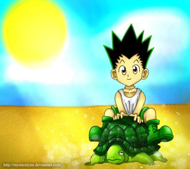 Gon with turtle by MysticaLynn