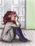 Molly Sits By A Big Window by calicokatt