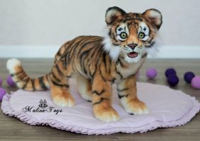 Auction! Poseable toy Tiger Cub.With opening jaw by MalinaToys