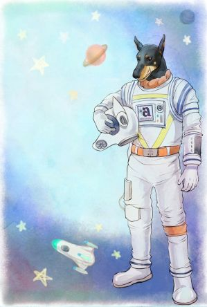 Anubis in a space suit by Aryoshka