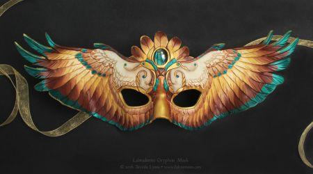 Labradorite Gryphon Wings - Leather Mask by windfalcon