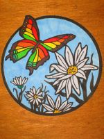Butterfly and Daisies by Mr-Pink-Rose