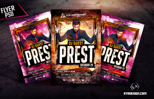 Electro House Music Flyer Template by ryrdesign
