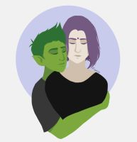 Beast Boy and Raven by Fionio